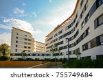 new residential building with... | Shutterstock . vector #755749684