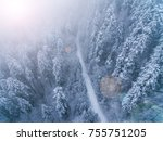 aerial view of snow covered... | Shutterstock . vector #755751205