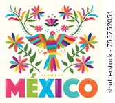 colorful mexican traditional... | Shutterstock .eps vector #755752051