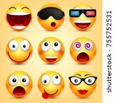 smiley emoticons set. yellow... | Shutterstock .eps vector #755752531