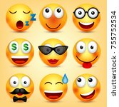 smiley emoticons set. yellow... | Shutterstock .eps vector #755752534