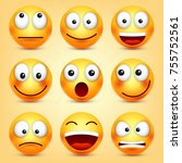 smiley emoticons set. yellow... | Shutterstock .eps vector #755752561