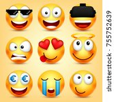 smiley emoticons set. yellow... | Shutterstock .eps vector #755752639
