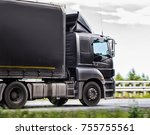 truck transports freight on the ... | Shutterstock . vector #755755561