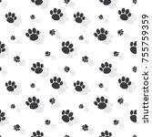 animal paw print seamless...   Shutterstock .eps vector #755759359