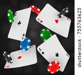casino chips and aces falling... | Shutterstock .eps vector #755763625
