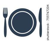 plate fork and knife on white... | Shutterstock .eps vector #755767204