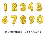realistic balloon numbers set... | Shutterstock .eps vector #755771341