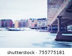 siltavuorensalmi bridge and the ... | Shutterstock . vector #755775181