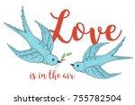 swift love birds vector hand...   Shutterstock .eps vector #755782504
