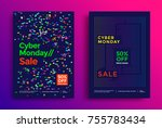 cyber monday sale poster design.... | Shutterstock .eps vector #755783434