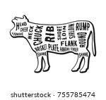 beef cuts template. butcher... | Shutterstock .eps vector #755785474