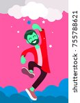 man reaching to the star ... | Shutterstock .eps vector #755788621