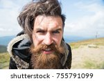 guy or bearded man at cold... | Shutterstock . vector #755791099