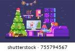 stock vector illustration cozy... | Shutterstock .eps vector #755794567