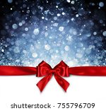 red ribbon with shiny blue... | Shutterstock . vector #755796709