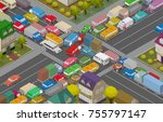 traffic jam. isometric cars and ... | Shutterstock .eps vector #755797147