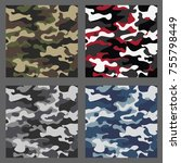 set of camouflage seamless... | Shutterstock .eps vector #755798449