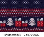 knitted christmas and new year... | Shutterstock .eps vector #755799037