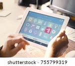 smart house device smartphone... | Shutterstock . vector #755799319