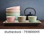 a set of japanese style dishes  ... | Shutterstock . vector #755800045