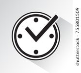 check mark on clock  real time...   Shutterstock .eps vector #755801509