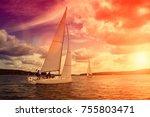 sailing yacht race  regatta.... | Shutterstock . vector #755803471