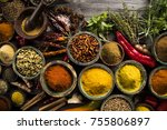 hot spices in wooden bowls | Shutterstock . vector #755806897
