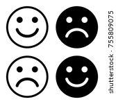 black and white smiley set.... | Shutterstock .eps vector #755809075