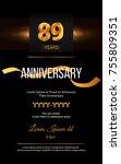 89 years golden anniversary... | Shutterstock .eps vector #755809351