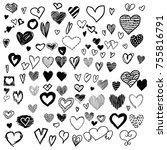 mega set of 100  handdrawn... | Shutterstock .eps vector #755816791
