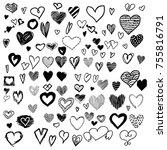 mega set of 100  handdrawn... | Shutterstock .eps vector #755816791