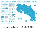 costa rica map   detailed info... | Shutterstock .eps vector #755822407