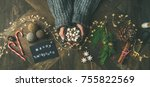 christmas  new year holiday...   Shutterstock . vector #755822569