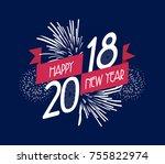 illustration of fireworks.... | Shutterstock . vector #755822974
