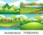 four background scenes with... | Shutterstock .eps vector #755824441