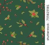 christmas holly berry...   Shutterstock .eps vector #755825581