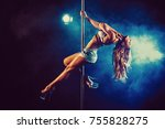 young sexy slim woman pole... | Shutterstock . vector #755828275