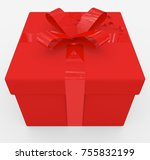 gift box   red box  red ribbon  ... | Shutterstock . vector #755832199