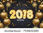 illustration of christmas 2018...   Shutterstock . vector #755833285