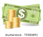 Pile of coins with dollars, eps 8 - stock vector