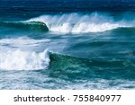 big waves and strong wind... | Shutterstock . vector #755840977