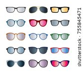 set of color glasses isolated.... | Shutterstock .eps vector #755845471