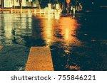 urban city rainy night  light...   Shutterstock . vector #755846221