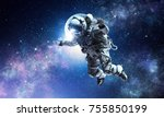 astronaut on space mission | Shutterstock . vector #755850199