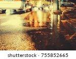 urban city rainy night  light...   Shutterstock . vector #755852665