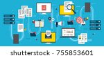 computers and laptop accessing ... | Shutterstock .eps vector #755853601