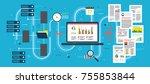 laptop accessing server files... | Shutterstock .eps vector #755853844