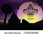 thailand place silhouette with... | Shutterstock .eps vector #755856985