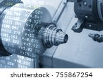 the abstract scene of cnc lathe ... | Shutterstock . vector #755867254
